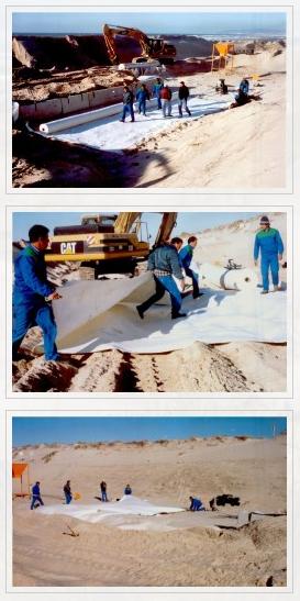 Aplicación geotextiles proyecto dunas portugal
